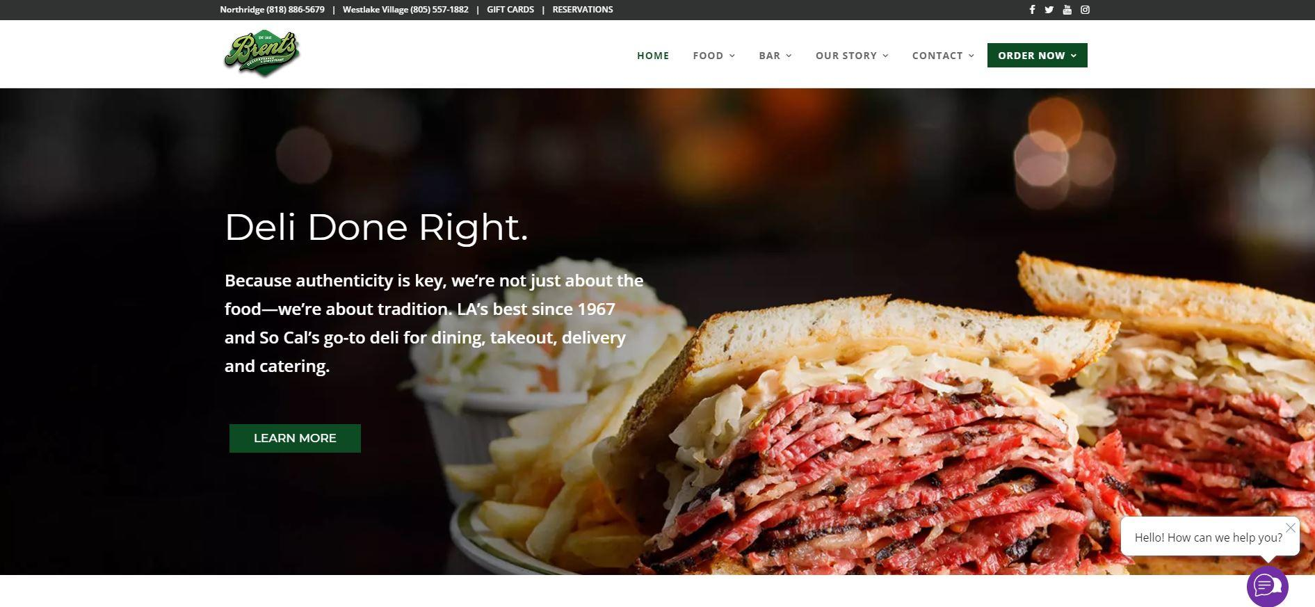 Brent's Deli of Northridge CA and Westlake Village CA Contracts GoMarketing of Thousand Oaks CA to Create a New Website and Internet Marketing for Their Restaurants