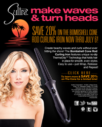 20 Percent Off Sultra Bombshell Cone Rod Curling Iron at Sultra.com