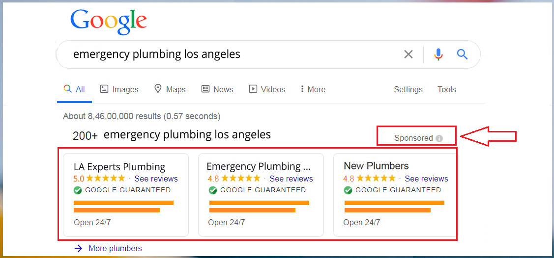 Google Ads: Target your customer by adding the keywords emergency plumbing + service area